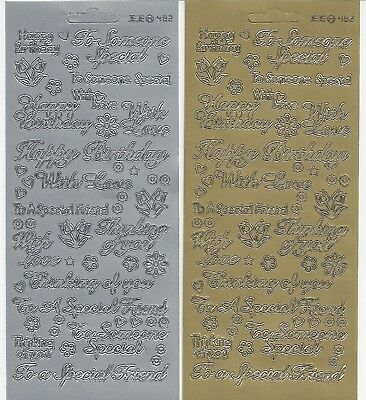 Card Sentiments Peel Off Stickers - Gold Or Silver - Birthday - Thinking Of You • 1.25£