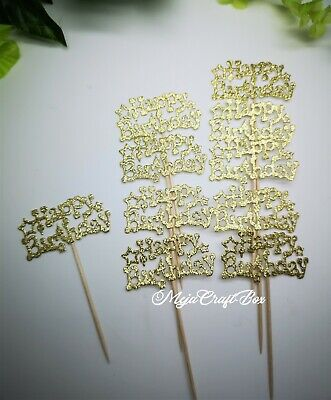 10 X Happy Birthday Gold Cake Glitter Card Sticks Decoration Cupcake Toppers  • 3.30£