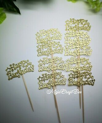10 X Happy Birthday Gold Silver Glitter Card Sticks Decoration Cupcake Toppers  • 3.10£