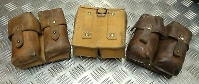 Genuine Vintage Military Issued Double Leather Ammo / Utility Small Pouch Used • 19.99£