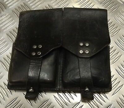 Genuine Vintage Military Issued Double Leather Utility / Ammo Small Pouch Used • 14.99£