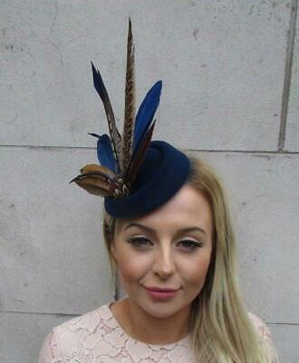 Navy Blue Pheasant Feather Pillbox Hat Fascinator Races Hair Clip Ascot 5333 • 22.95£