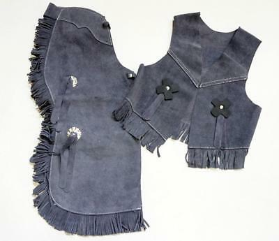 $39.90 • Buy GREY SUEDE VEST CHAPS SET KIDS Cowboy Cowgirl Costume! Medium ONE OF A KIND