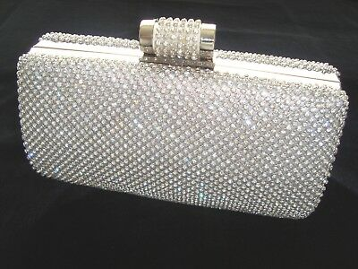 Silver Bling Crystal Diamante Diamond Evening Bag Clutch Purse Party Prom Bridal • 21.99£