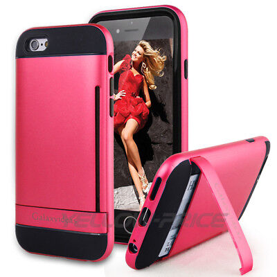AU12.34 • Buy IPhone 6 6S Wallet Case Card Holder ID Slot Hybrid Shockproof Stand Armor+ Glass