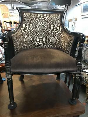 AU699 • Buy French Louis  Carved Armchair Reupholstered In Contrasting Velvet Fabric
