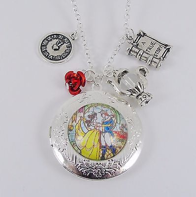 £5.99 • Buy BEAUTY AND THE BEAST LOCKET CHARM NECKLACE Disney Princess Belle Vintage Wedding