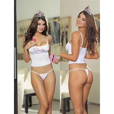 £12.99 • Buy Sale! Bride To Be Vest Thong Crown Buy Me A Shot Game Dreamgirl 5013 Hen Night