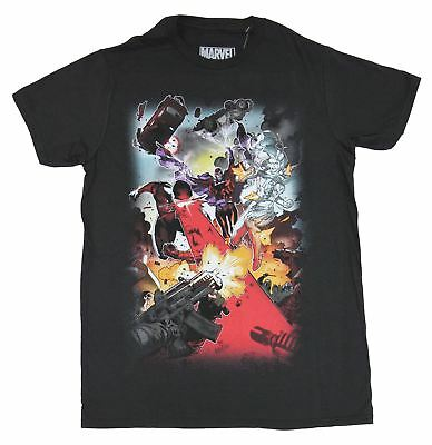 X-Men (Marvel Comics) Mens T-Shirt - Magneto White Queen Cyclops Attacking Toget • 14.30£