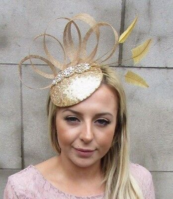 Gold Sinamay Feather Pillbox Hat Fascinator Races Wedding Cocktail Sequin 5427 • 32.95£