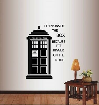 Vinyl Decal Tardis Doctor Who Police Box I Think Inside Box Wall Sticker 1399 • 21.60£