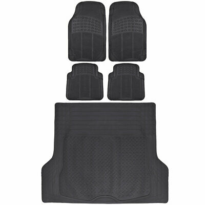 $45.90 • Buy Rubber Car Floor Mats 5 PC Black Front Rear And Cargo Trunk Liner Auto Truck SUV