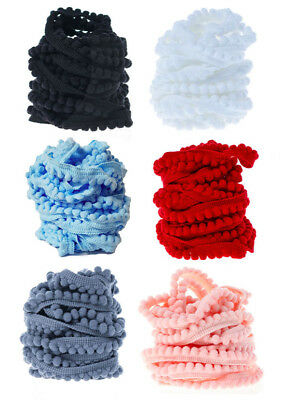 10 Yards Mini Pom Pom Bobble Trim Quality Pompom Trimming Tiny Fringe DIY Crafts • 1.49£
