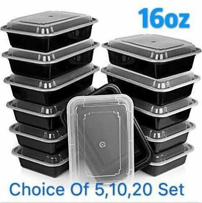 16oz Meal Prep Food Containers With Lids, Reusable Microwavable Plastic BPA Free • 41.96£