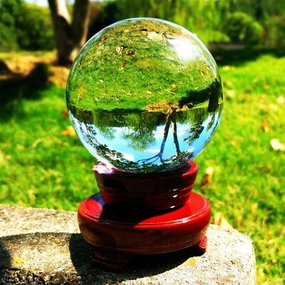 £10.79 • Buy 100mm Glass Clear Crystal Ball Magic Healing Sphere Photo Decor Prop +Stand Home