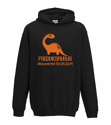 Juko Kids Personalised Dinosaur 1358 Any Name Any Date Discovered In Hoodie. • 18.50£