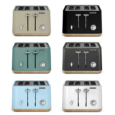 AU169 • Buy Morphy Richards Scandi Aspect 4 Slice Toaster W/ Wooden Trim/Crumb Tray