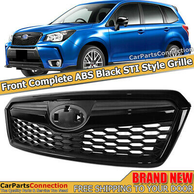 STI Style Black Front Radiator Grille Grill For 14-18 Subaru Forester Upper Trim