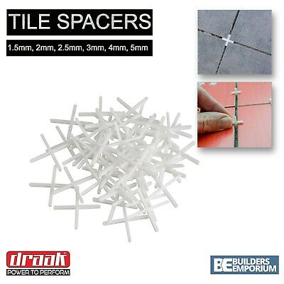 Tile Spacers 1.5mm, 2mm, 2.5mm, 3mm, 4mm & 5mm ALL SIZES GROUTING DRAAK • 7.65£