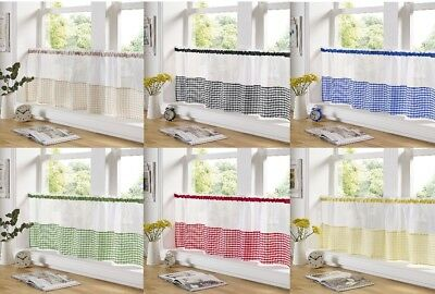 £6.85 • Buy Voile Gingham Kitchen Bathroom Cafe Panels Ready Made Curtains 18  Or 24  Drop