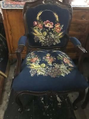 AU399 • Buy Mahogany French Louis Fauteuil Style  Carved Armchair ..blue Floral Tapestry