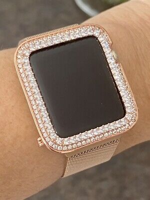 $ CDN93.89 • Buy EMJ Series 1,2,3 Apple Watch Princess Zirconia Rose Gold Case Bezel 38/42mm
