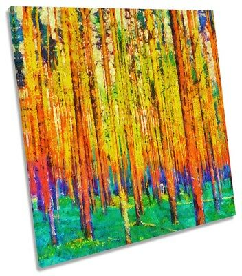 £24.99 • Buy Abstract Forest Trees Repro Framed CANVAS PRINT Square Wall Art