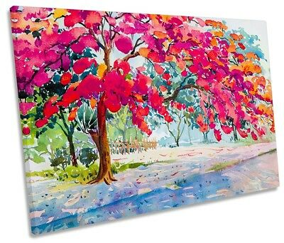 £38.99 • Buy Red Floral Tree Autumn Framed SINGLE CANVAS PRINT Wall Art