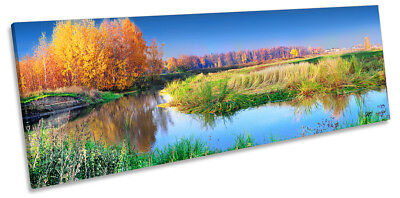 £34.99 • Buy Autumn Landscape Yellow Trees Framed PANORAMA CANVAS PRINT Wall Art