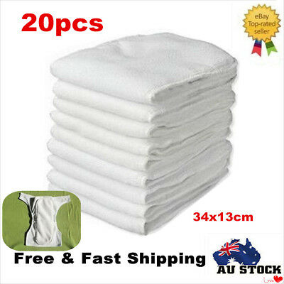 AU31.16 • Buy 20X Reusable Microfiber Inserts Liner 3 Layers For Modern Cloth Nappy Diaper AU