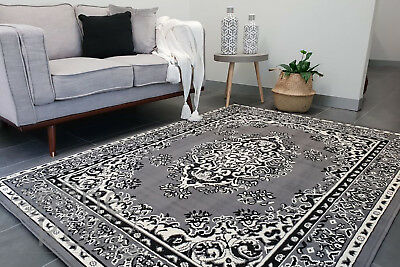AU140 • Buy Grey White Floor Rug Traditional Persian Style Carpet
