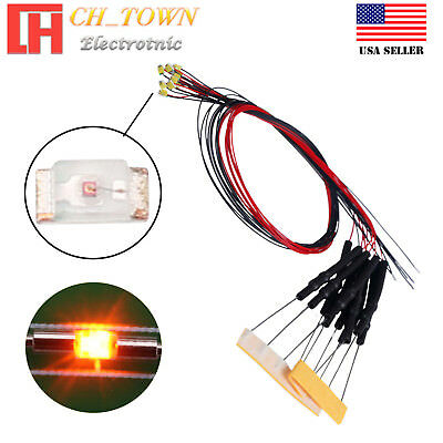 $8.72 • Buy 10PCS DC 6-12V 0402 1005 Orange Amber Lights SMD LED Diodes Pre-Wired 20CM Line