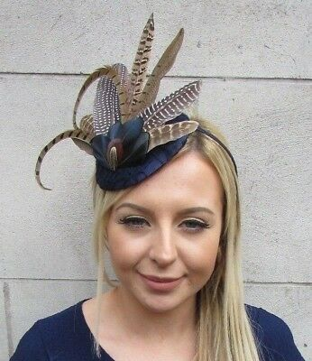 Navy Blue Pheasant Statement Feather Fascinator Races Pillbox Hat Races 5509 • 27.95£