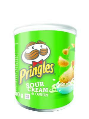 Pringles Crisps Sour Cream And Onion Pack 12x40g Tubs Pots Price Marked • 8.15£