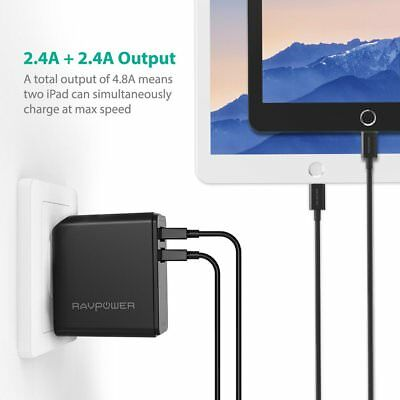 AU27.10 • Buy RAVPower Dual USB Wall Charger 24W 4.8A (2.4 A X 2) With Foldable Plug & ISmart