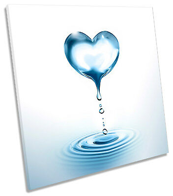 Water Droplet Heart Bathroom Blue Picture CANVAS WALL ART Square Print • 24.99£