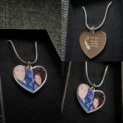 Personalised Photo Printed & Text Engraved Heart Pendant - Birthday Gift. • 12.99£