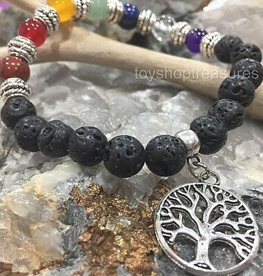 AU10.95 • Buy Aromatherapy Diffuser Essential Oil Lava & Gemstone Chakra Bracelet Tree Of Life