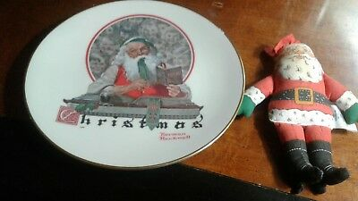 $ CDN16.67 • Buy Vintage '77 Norman Rockwell Christmas Plate & Santa 's '79 Hallmark Cloth Doll