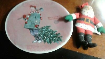 $ CDN16.67 • Buy Vintage '74 Norman Rockwell Christmas Plate & Santa 's '79 Hallmark Cloth Doll