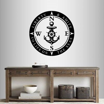 Vinyl Decal Compass Anchor Rose Sea Nautical Any Room Wall Sticker 999 • 20.25£