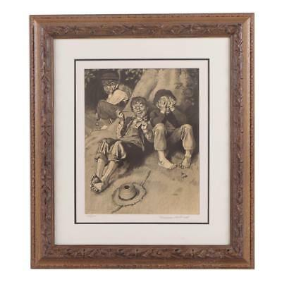 $ CDN1508.78 • Buy Rare 1932 NORMAN ROCKWELL Hand Signed Framed L/E Lithograph   First Smoke W/Coa