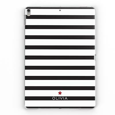 Personalised Name Black White Striped Custom Back Case Cover For Apple Ipad • 12.95£