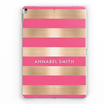 Personalised Gold Pink Stripes Name Initial Custom Case Cover For Apple Ipad • 12.95£