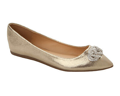 Womens Gold Glitter Diamante Wedding Party Dolly Pumps Shoes Ladies Size 3-8 • 12.99£