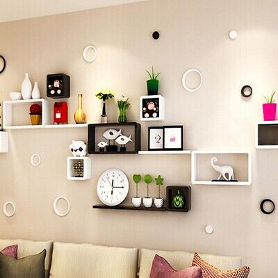Set Of 6 Floating Wall Mounted Shelves Display Storage Shelf Home Decoration New • 18.99£