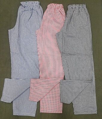 £9.95 • Buy Catering Chefs / Kitchen Check Trousers 3 Colours Blue-Red-Black  XS  To XL New