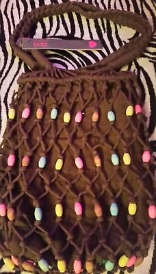 2 X Womens/Ladies Spirit Bag☆Brown Safari String Bags With Coloured Wooden Beads • 15£