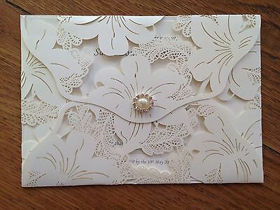 Personalised Wedding Invitations Vintage Day /eve Lace Laser Cut With  Envelope • 2.70£