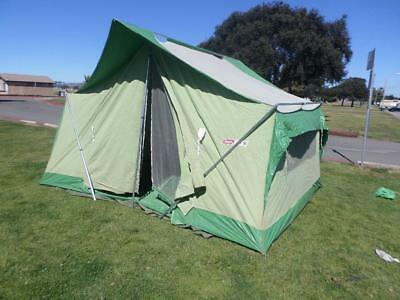 Vintage Coleman Oasis Canvas Tent Mod 8471 832 13x10 Pristine With Footprint